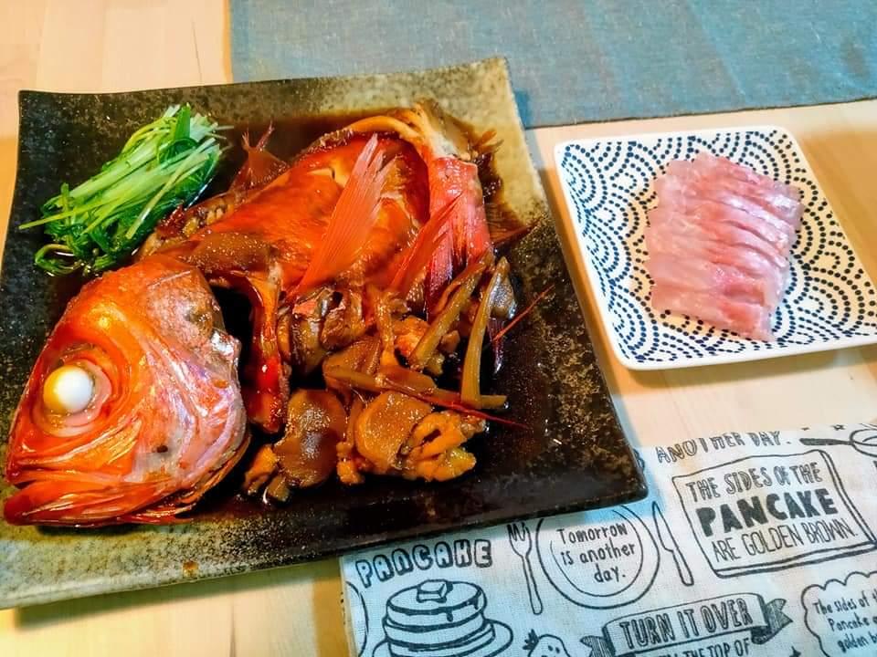 金目鯛の煮付けと刺身